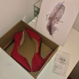 Jessica Simpson Red Suede Paryn Pointed Toe Pumps